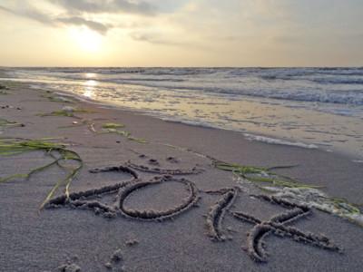 Neujahrsgruß 2017 im Sand.