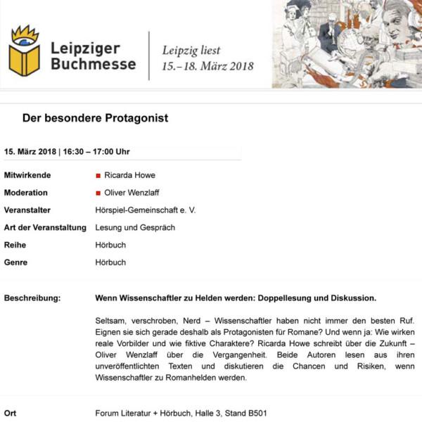 Auszug aus dem Messeprogramm der Leipziger Buchmesse