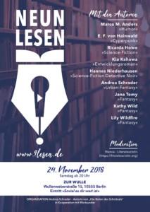 Plakat für die Lesung in Berlin von 9lesen